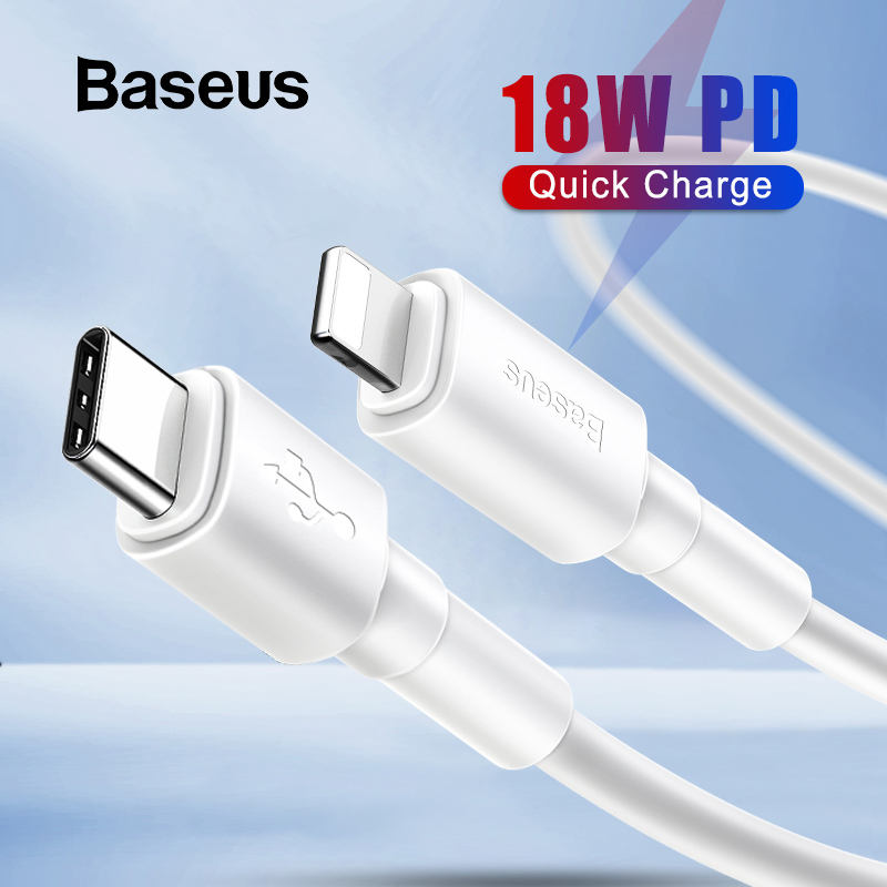 Baseus 18W Quick Charge USB C for Lightning PD Cable for iPhone 11 Pro X Max Charging Data Cable for Macbook iPad Pro USB Cord-in Mobile Phone Cables from Cellphones & Telecommunications on AliExpress