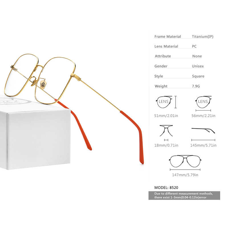 Fonex óculos de grau unissex, óculos de grau de titânio, tamanho grande, para miopia, óculos com prescrição, masculino, quadrado, ultraleve 8520