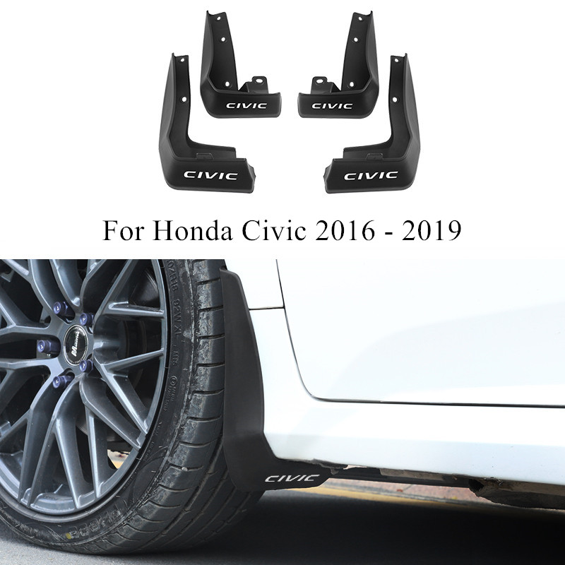 White ABS Front Splash Guards Mud Flaps Fenders For Honda CIVIC 2016-2017 2018