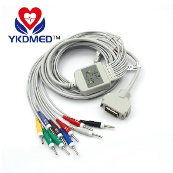 Free shipping compatible Fukuda Denshi 10 Lead one-piece series EKG cable/Resistance compatible with 15 pin kanz pc109 108 110 1203 1205 ekg machine the one piece 10 leads cable and snap leadwires iec or aha