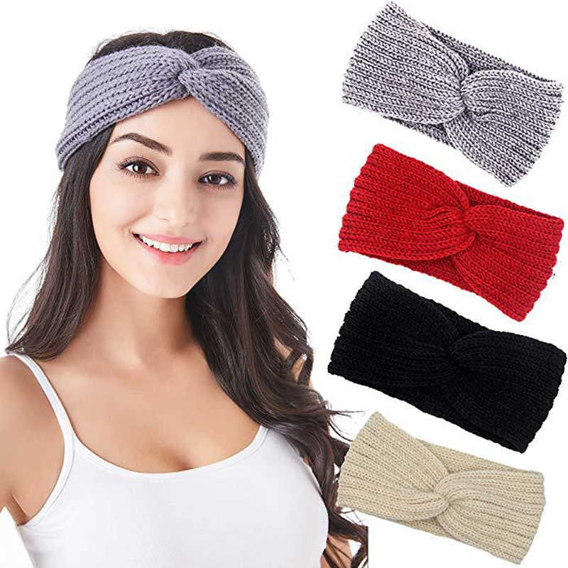 M MISM New Solid Wool Hair Wrap Warm Ear Hairband Autumn Winter Women Knitted Cross Headband Exquisite Ladies Hair Accessories