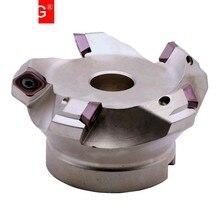 MZG-inserto de carburo de KM12R50-22-4T, cortador de fresado de extremo de aleación de alimentación rápida, máquina de fresado, cuatro SEKT1204