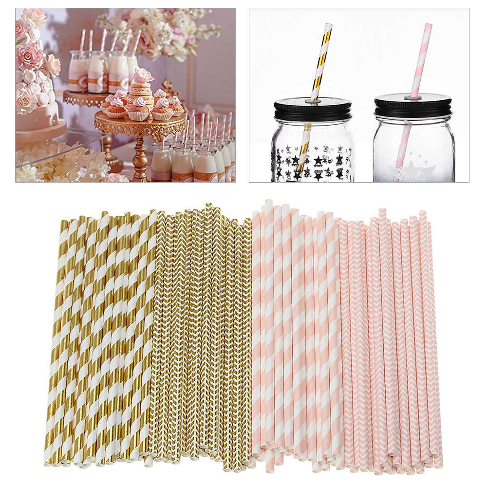 Drinking Straws Paper Straw 100 Pcs Pink Straws Gold Straws For Party Supplies Birthday Wedding Decorations And Celebrations