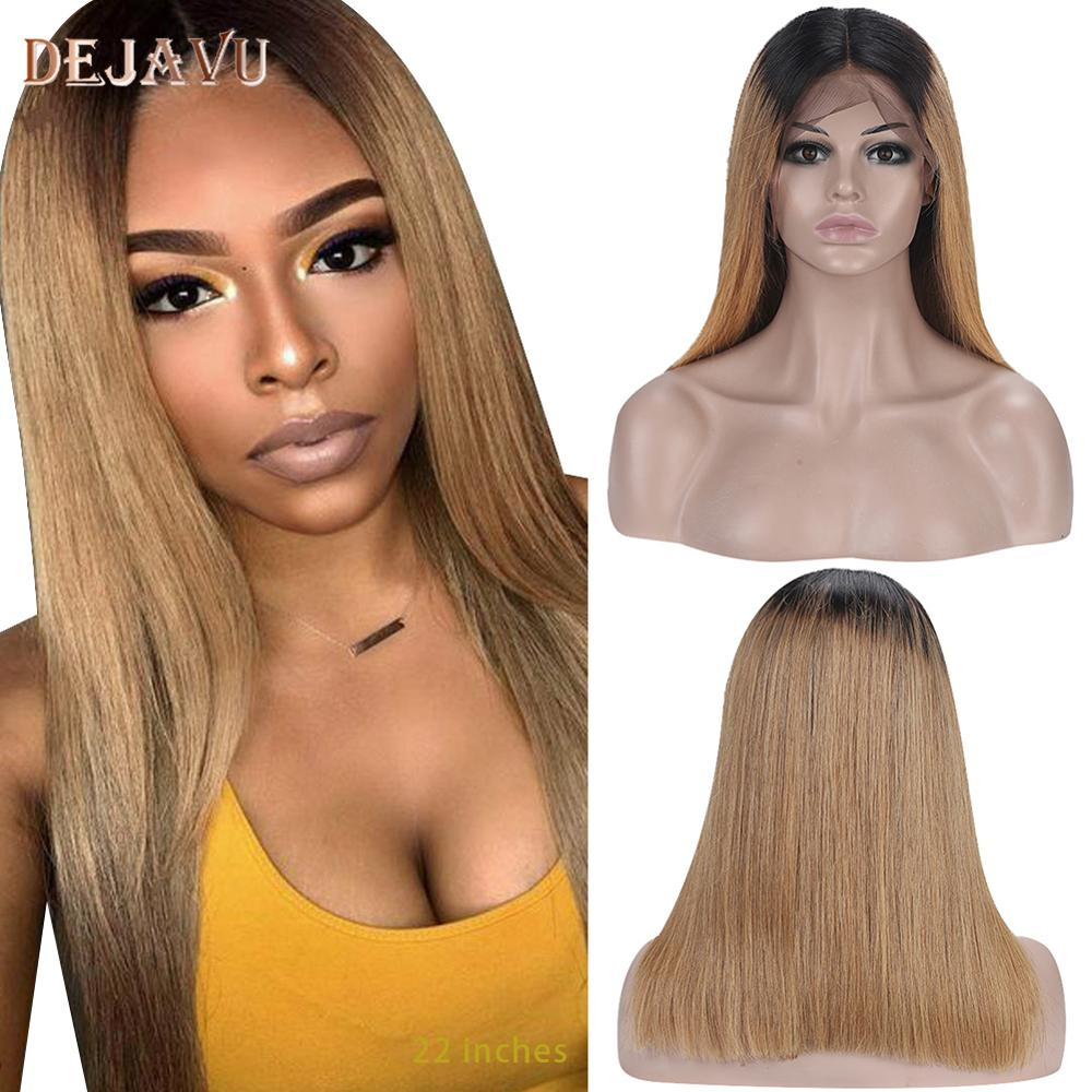 Dejavu Blonde Straight Hair Wig Lace Front Human Hair Wigs 13x4 Lace 1B27 Brazilian Remy Hair Wigs For Women 130% Pre Plucked