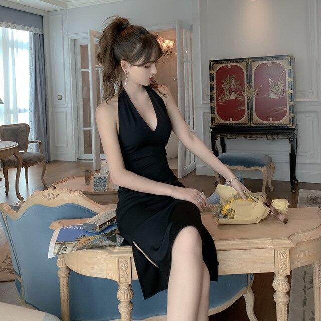 2021Dress Dress  Elegant Hepburn Black Sexy Deep V Neck Temperament Slim Bag Hip Split Dress Party Dress 1