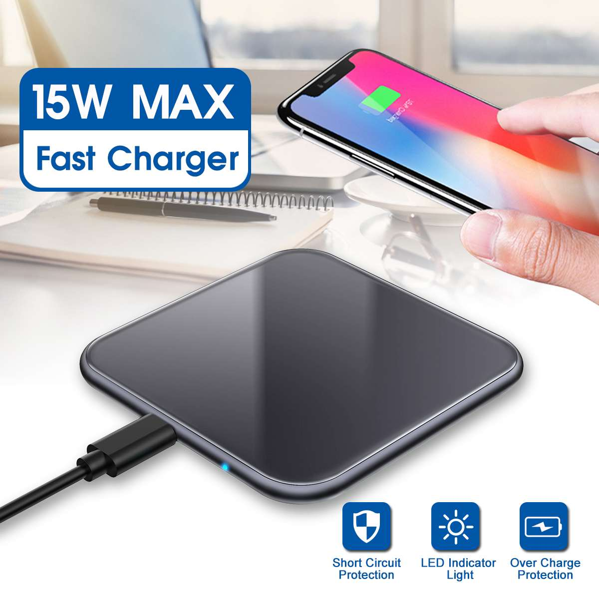 LED Indicator Light Charger Portable Mobile Phone Charger Wireless Tablet Charger For Wireless Charging Mobile Phone Laptop