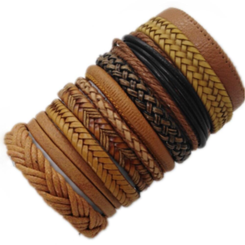 10 sztuk/zestaw czarna owijka tkane nowe mody ręcznie mężczyzn bransoletki męskie kobiety skórzana bransoletka bransoletka męska biżuteria hurtowych prezent