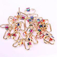 5 uds, Multi color CZ Micro Pave Crystal Zirconia Clasp Forma ovalada Lock mosquetón Pave Lock joyería hallazgos