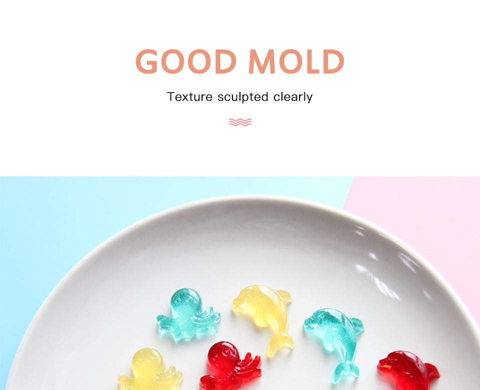 6SILIKOLOVE Fondant Cake Decorating Tools 3D Silicone Mold Miniature Ocean Candy Mold Whale Starfish Octopus Chocolate mould