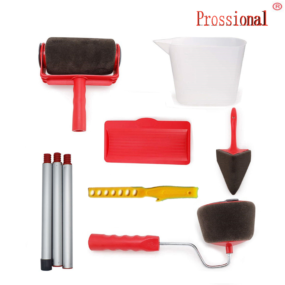New Seamless Paint Runner Pro Roller Brush Handle Tool Flocked Edger Office Room Wall Painting Roller Paint Brush
