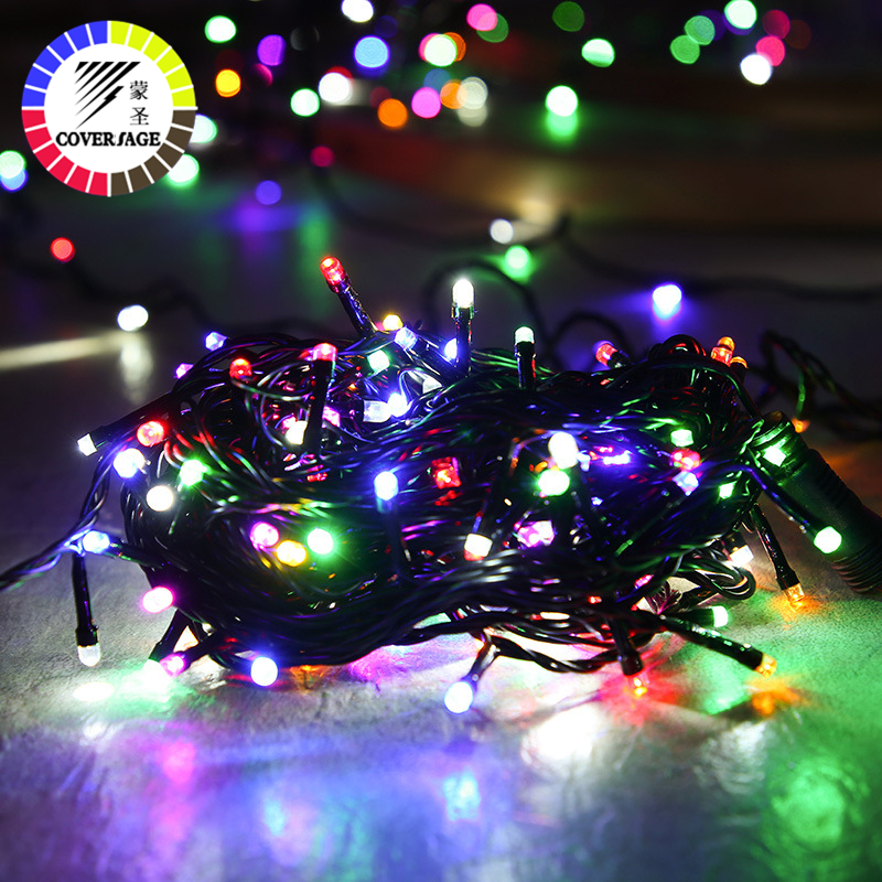 Coversage Christmas Tree 20M Led String Garland Fairy Light Black Line Chain Home Garden Party Outdoor Holiday Decoration