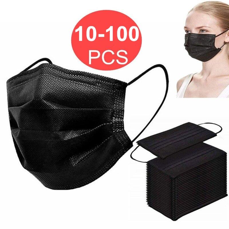 10-100 шт. Одноразовые 3-слойные маски для лица, рта Mascherine тушь для ресниц анти-капли Mascarillas De Proteccion одноразовая маска для лица