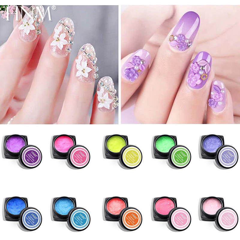 HNM 3D Sculpture Carved Pattern Gel Polish Drawing Flowers Painting Gel Nail Art Decoration UV Gel Polish Modelling Manicure