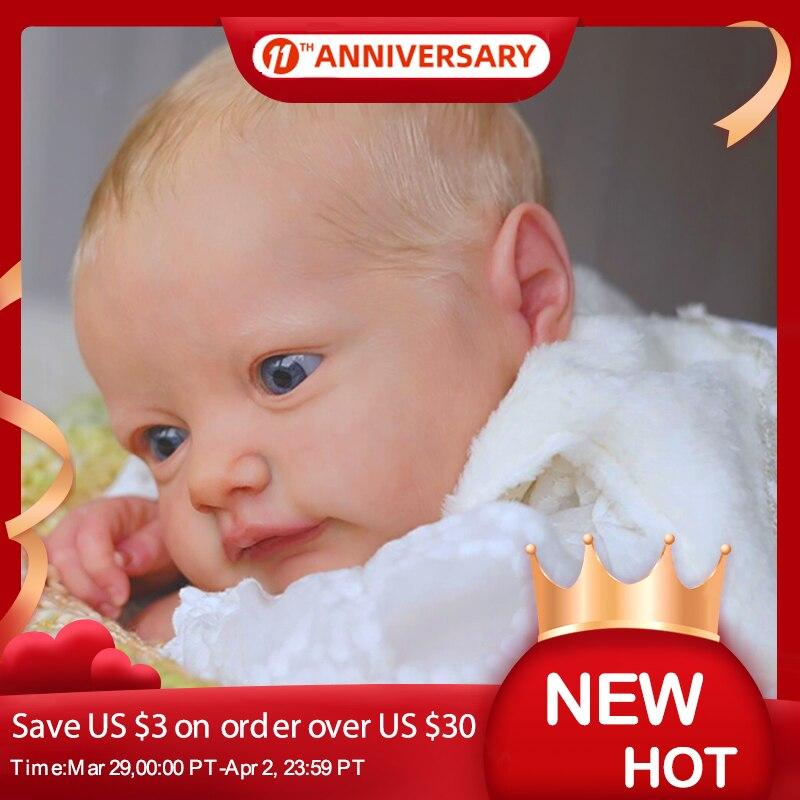 RSG 22 Inch 56CM Realistic Newborn Fabric Body tobiah Bebe Reborn Doll Unpainted Unfinished Doll Parts DIY Blank Doll Kit