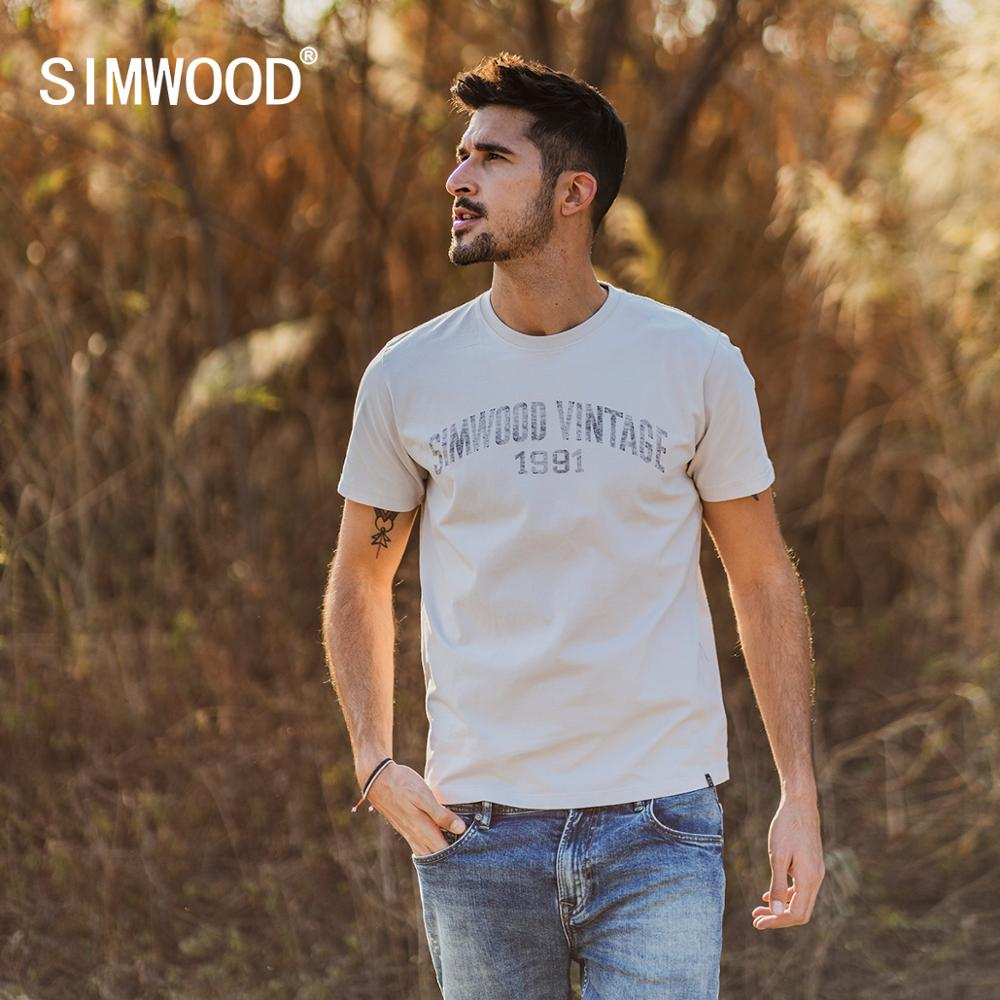 SIMWOOD 2020 Spring Summer New T-shirt Men Letter Print Casual 100% Cotton Plus Size Brand Clothing Tops Tees SI980806