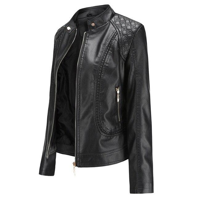 Модная кожаная женская куртка на молнии из искусственной кожи высокого качества 3