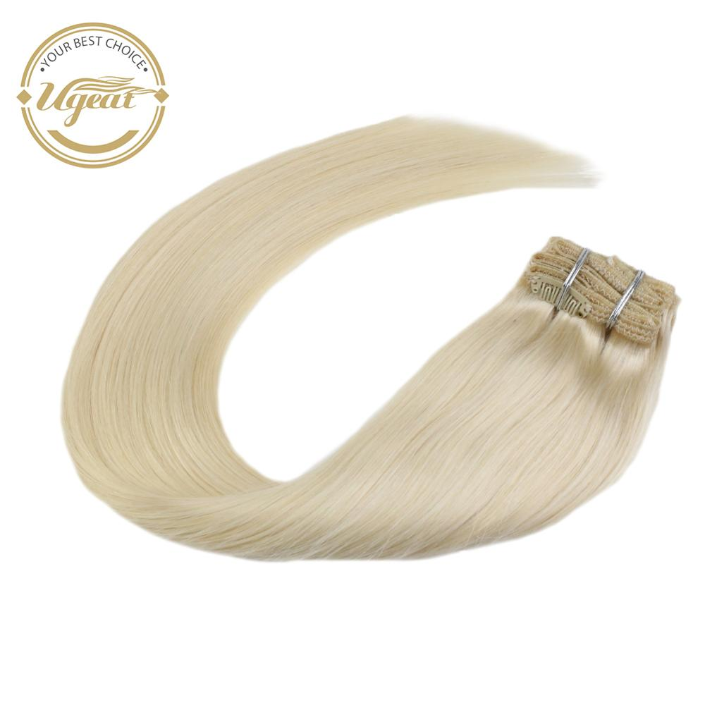 Ugeat Clip In Human Hair Extensions Machine Remy Full Head 14-24inch Solid Color Thick End Clip On Hair Straight 120g