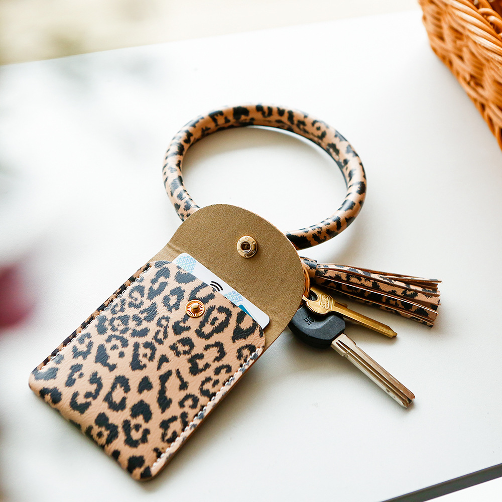 Leopard Image Design Metal Chunky Keyring in Gift Box