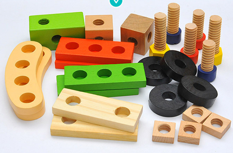 Kids Wooden Toolbox Pretend Play Set Educational Montessori Toys Nut Disassembly Screw Assembly Simulation Repair Carpenter Tool 16