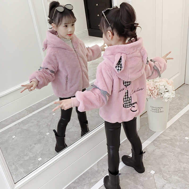 Winter Verdicken Warme Mädchen Fleece Jacken Mit Kapuze Casual Kinder Mädchen Weiche Mäntel Cartoon Katze Nette Kinder Outwear Kleidung 4- 13T