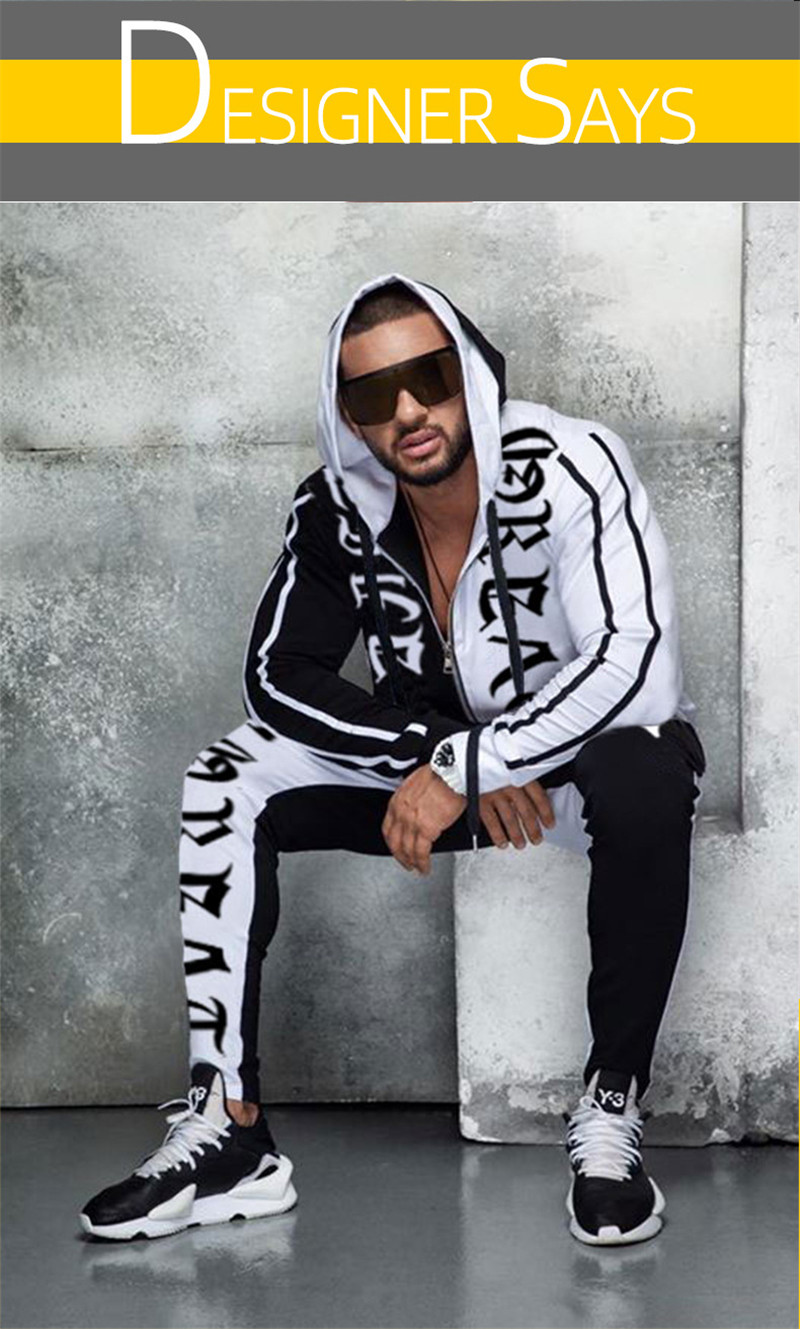 2019 Men's Sets Fashion Sportswear Tracksuits Sets Men's GYMS Hoodies+Pants Casual Outwear Suits Chandal Hombre Completo