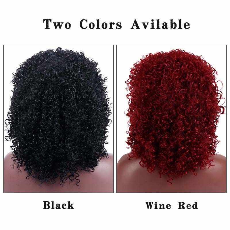 """LUPU 14 """"черный красный синтетические Короткие парики с челкой афро кудрявые вьющиеся волосы высокая температура волокна косплей парики для черных женщин"""
