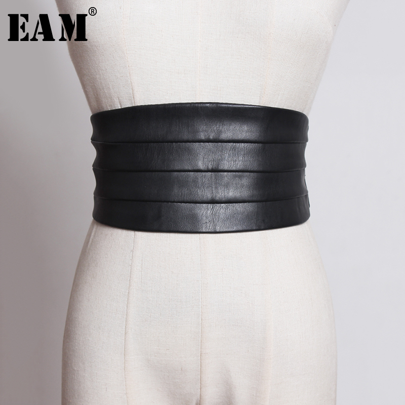 [EAM]  Multicolor Black Red Pu Leather Elastic Wide  Belt Personality Women New Fashion Tide All-match Spring 2020 1U221