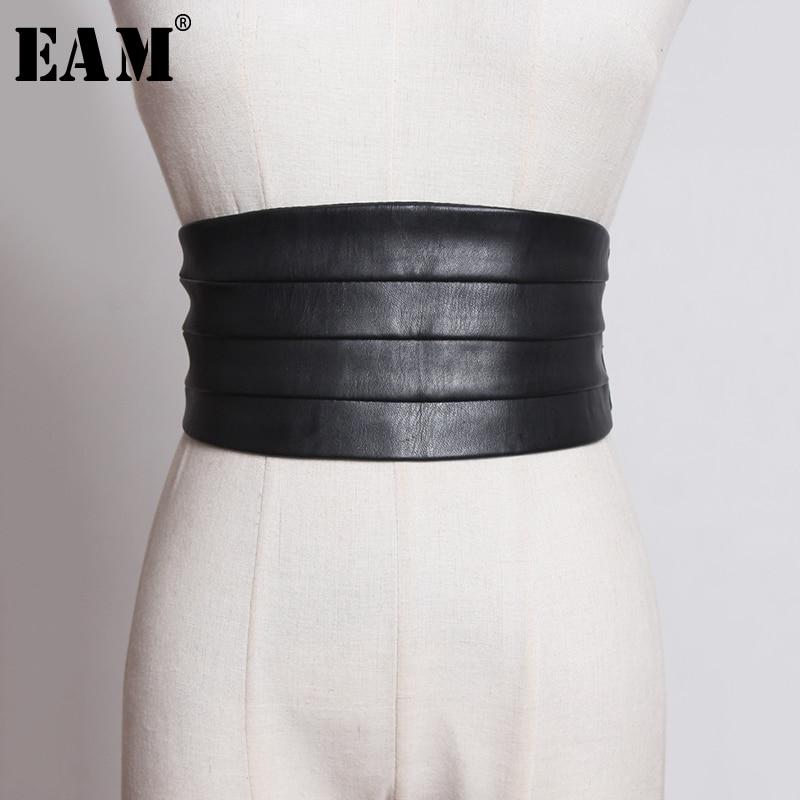 [EAM] Multicolore Noir Rouge Pu En Cuir Élastique Large Ceinture Personnalité Femmes Nouvelle Mode Marée Tout-match Printemps 2020 1U221