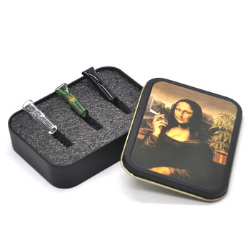 Honeypuff Reusable Glass Cigarette Filter Tips Glass Mouth Tips Cigarette Holders with Metal Tobacco Box Cigarette Case