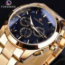 Forsining Golden Men Mechanical Watches 3 Dial Design Automatic Calendar Elegant Gentleman Business Full Steel Wrist Watch Clock