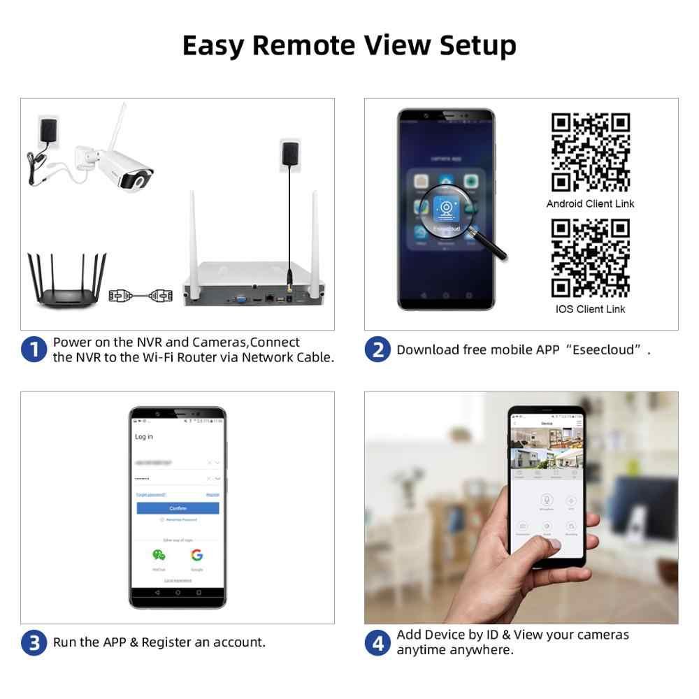 Jooan 8CH Nvr 3MP Cctv Draadloze Systeem Audio Record 4/8Pcs 3.0MP Outdoor P2P Wifi Ip Security Camera set Video Surveillance Kit