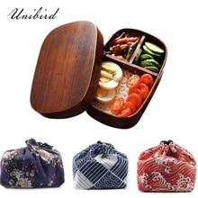 Unibird японские квадратные деревянные коробка с отделениями для завтрака с сумкой для ложки и палочек суши порционная коробка Bento для хранения еды контейнер для детей набор