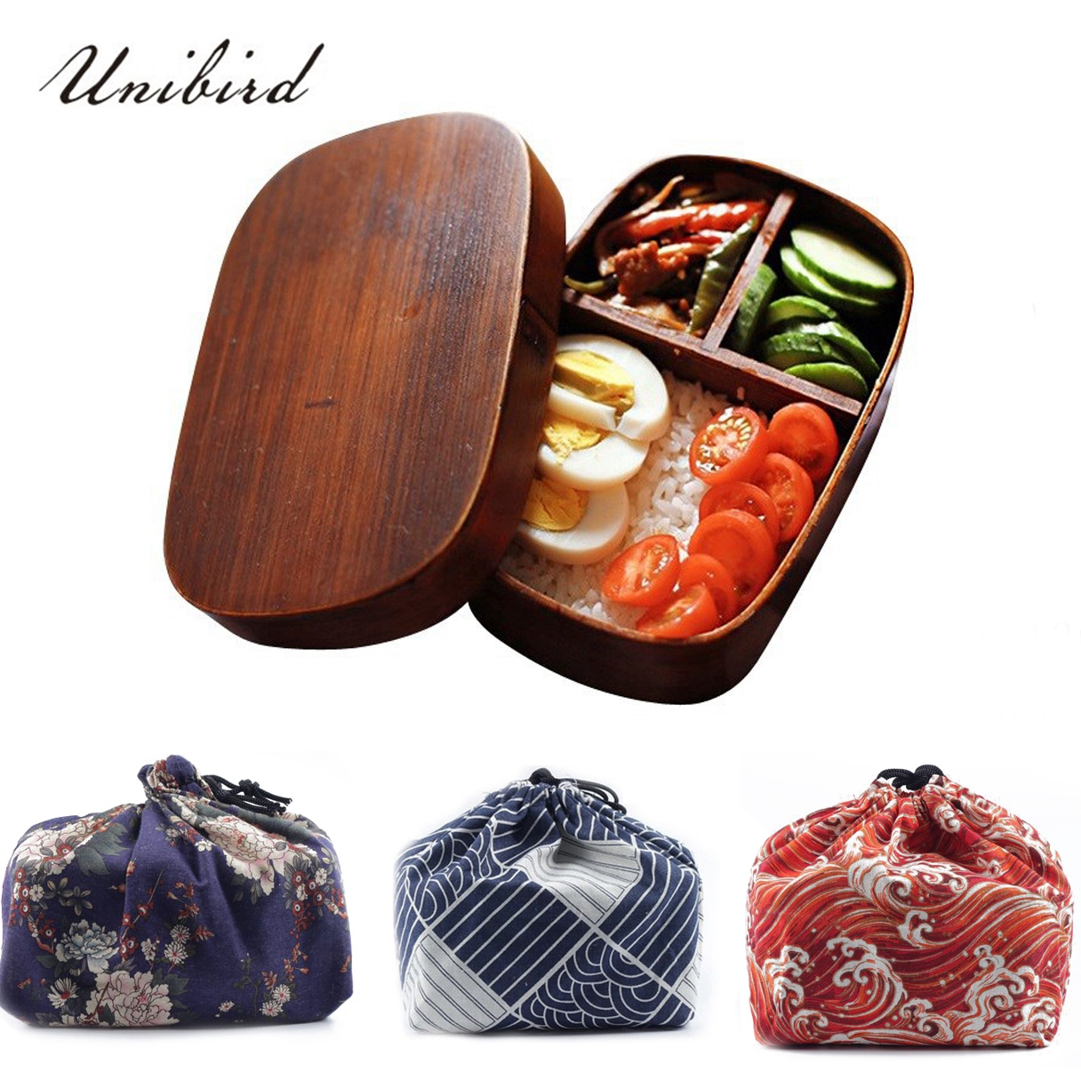 Unibird Japanese Square Wooden Compartment Lunch Box with Bag Spoon Chopsticks Sushi Bento Box Food Container for Kids Set