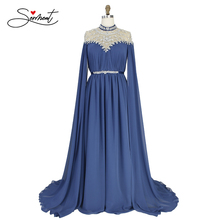 SERMENT Arab Middle Eastern Chiffon Long Sleeve Elegant Evening Gown Handmade Beaded Crystal with Front and Back Shawl