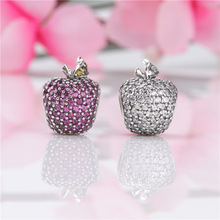 2020 New Free Shipping Real 925 Sterling Silver Bead New Shiny Apple Beads Fit Original Pandora Bracelet For Women DIY Jewelry original gear fit for duplicator riso mz free shipping