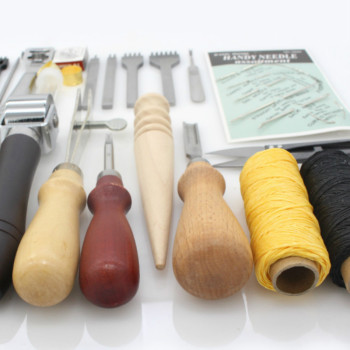 Leather Tools Craft Kit Hand Kit for Hand Sewing Stitching, Stamping Set and Saddle Making 25 Pcs/Lot Thinning Edge Beveler