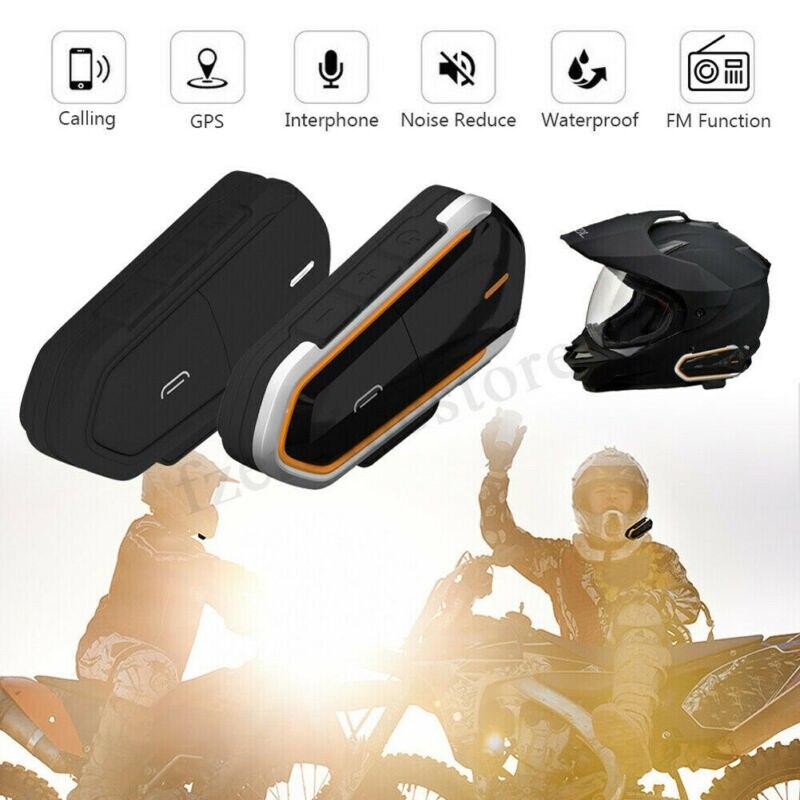 2020 New Waterproof 1000m BT-S2 Motorcycle Helmet Bluetooth Headset Motorbike Outdoor Helmet Headset Set Motorcycle Electronics