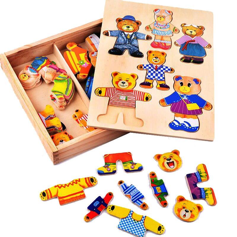 Six Bear Huanyi Kindergarten Baby Learn Wear Clothes Toy ENLIGHTEN Teaching Aids Children Wood Educational Toy Building Blocks