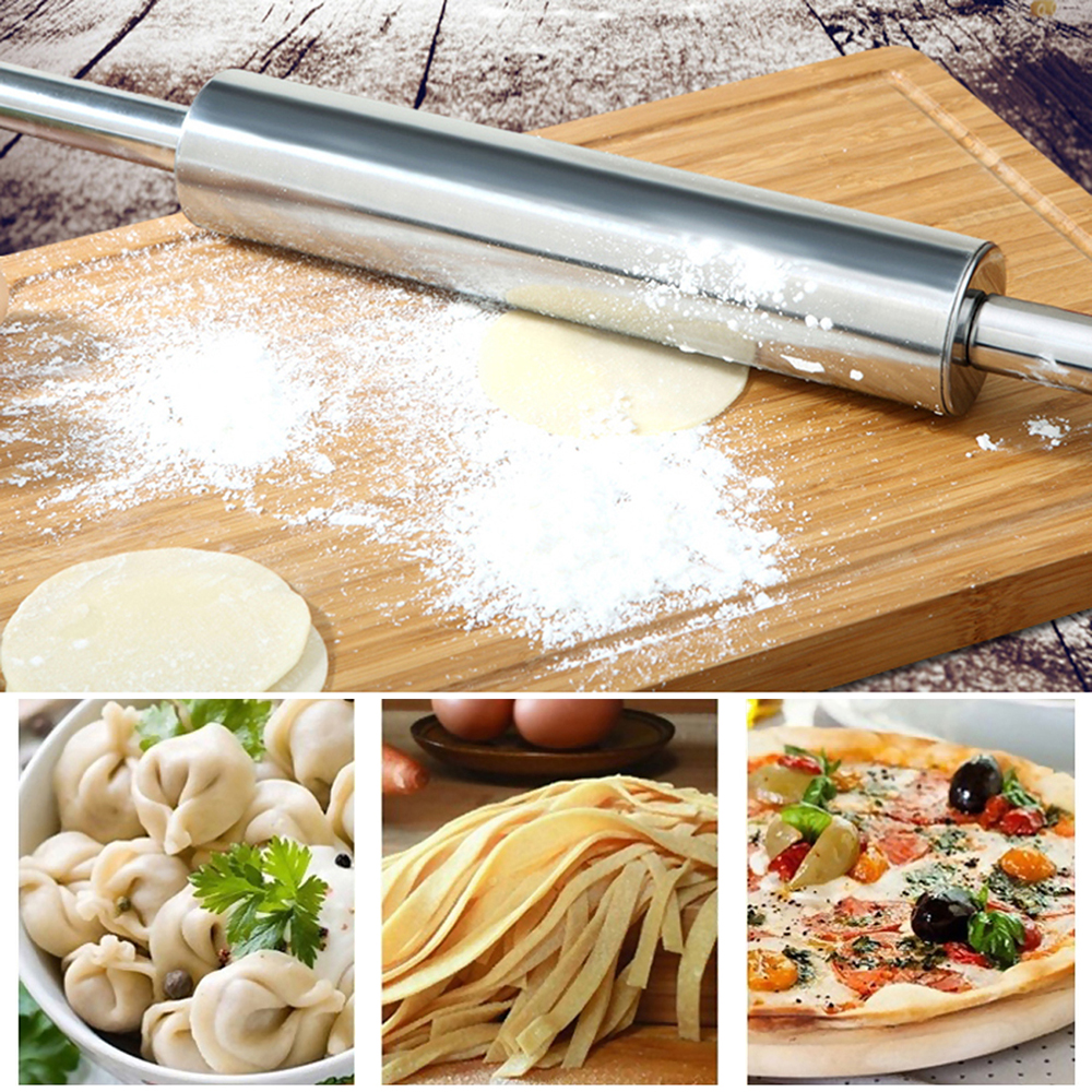 Baking-Tools Dough-Roller Pastry Rolling-Pin Pizza-Noodles Stainless-Steel Cookie Pie-Making title=