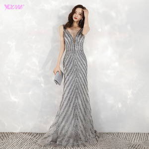 Image 1 - 2020 New Arrival Elegant V Neck Gray Long Evening Dresses Mermaid Sequined Beads Dress Party Evening Gowns