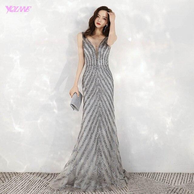 2020 חדש הגעה אלגנטי V צוואר אפור ארוך ערב שמלות בת ים נצנצים חרוזים שמלת מסיבת ערב שמלות