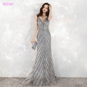 Image 1 - 2020 새로운 도착 우아한 v 목 회색 긴 이브닝 드레스 인어 스팽글 비즈 드레스 파티 이브닝 가운