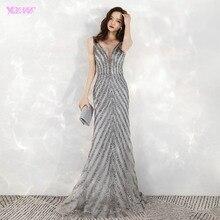 2020 وصول جديد أنيق الخامس الرقبة رمادي فساتين سهرة طويلة حورية البحر الترتر الخرز فستان الحفلات السهرة