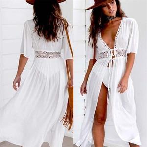 3XL Plus Size Beach Long Maxi Dress Women Beach Cover Up Tunic Pareo White V Neck Dress Robe Swimwear Bathing Suit Beachwear