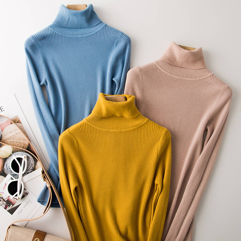 Women Turtleneck Sweater Pullover Winter Fall Knitted Slim Jumpers Tops Quality Stretch Basic Shirt Warm Female Sweaters