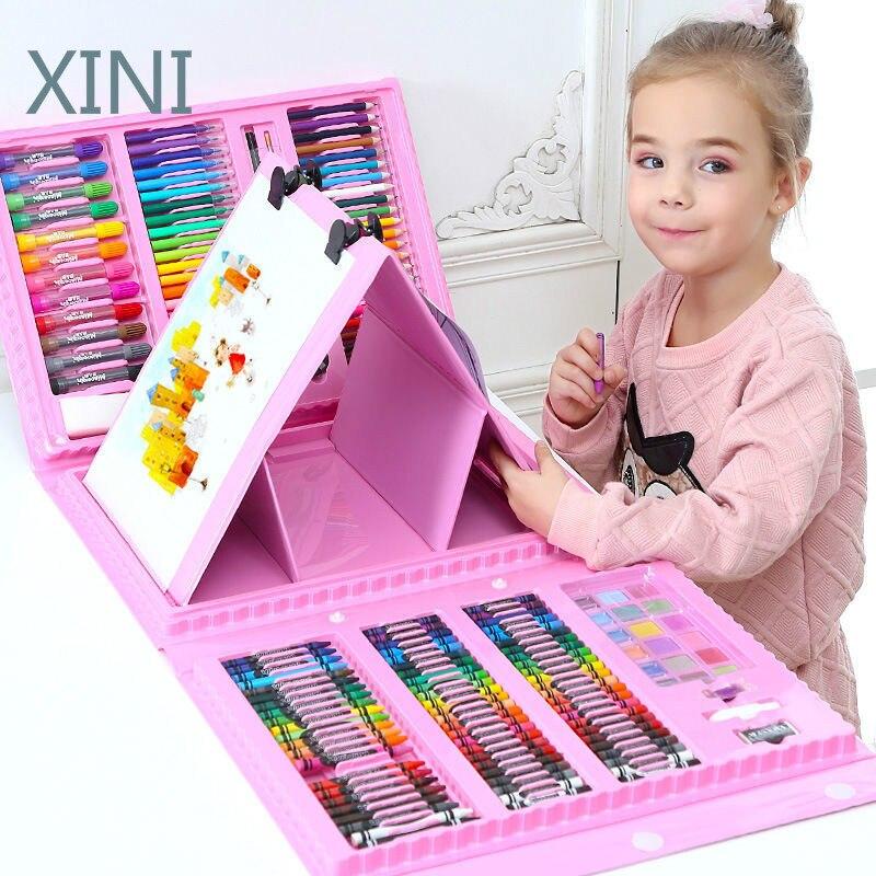208 шт. малыш рисовать комплект Цветной карандаш Crayon акварельных ручек игрушки для творческого рисования ручки для писания на доске toys & hobbies ...