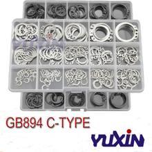 Conjunto de anel de retenção, anéis pretos & ss304 para retenção interna e externa a2 c-clip arruelas com 225 peças/175 peças kit de retenção de anel