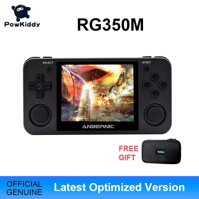 Powkiddy RG350M שחור כף יד משחק קונסולת 3D משחקי מתכת פגז קונסולת פתוח מקור מערכת 3.5 אינץ IPS מסך רטרו Ps1 ארקייד