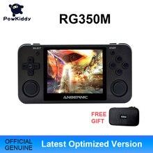 Powkiddy RG350M siyah elde kullanılır oyun konsolu 3D oyunları Metal kabuk konsol açık kaynağı sistemi 3.5 inç IPS ekran Retro Ps1 Arcade