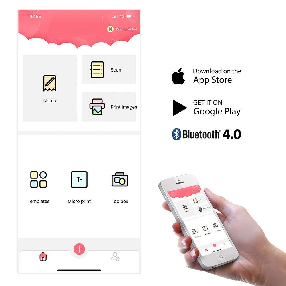 Mini Tragbare Bluetooth Thermische Drucker Tasche Aufkleber Empfang Drucker Kompatibel mit iOS + Android